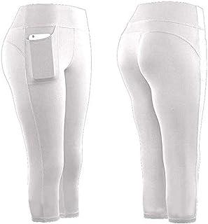 KEERADS Damen Doppeltaschen Sport Leggings 3/4 Yogahose Sporthose Laufhose Training Tights mit Handytasche