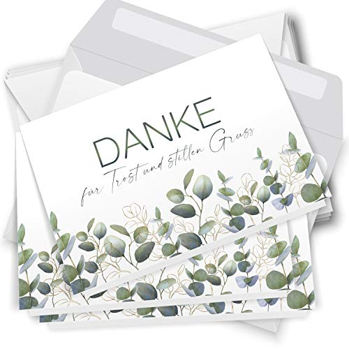 Trauer Danksagungskarten mit Umschlag | Motiv: Eucalyptus Gold, 10 Stück | Dankeskarten DIN A6 Set | Klappkarten-Trauerkarten Danksagung Danke sagen