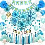 Hanakaze ブルー 誕生日 飾り付け セット 豪華100点 バースデー 飾りケーキトッパー、フォトクリップ、紙のファン、ペーパー フラワー、誕生日のバナー、タッセルガーランド、キラキラスターガーランド、風船を含む