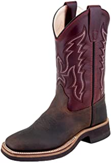 Old West Boys' Two Tone Leather Cowboy Boot Square Toe Brown 6 D