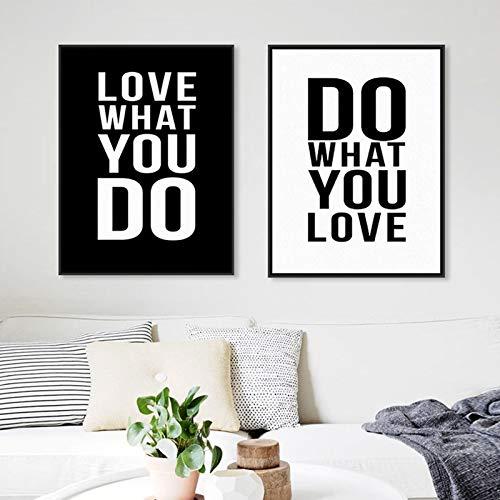 Pegatinas de pared, patrón de letras de estilo simple moderno, amor lo que haces, pegatinas de vinilo para pared para carteles de sala de estar, murales de 35x57cm
