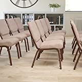 EMMA + OLIVER 18.5' W Stacking Church Chair in Beige Fabric - Copper Vein Frame
