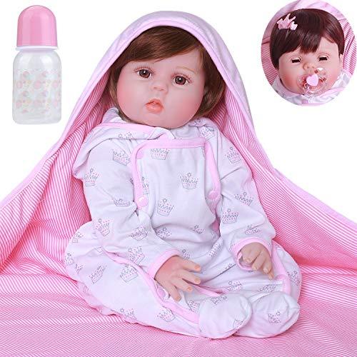 ZIYIUI Realista Niña Reborn Bebé Muñecas Niñita Silicona Toddler Muñecos Reborn Babys Dolls Niños Juguetes Conjunto 22 Pulgadas Las muñecas Pueden parpadear