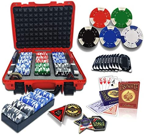 casinoite Professional Poker Chips Set Billium 300 pcs 10 Plaques Red Hard Case 40mm Casino product image