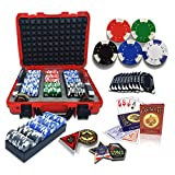 300PCS Poker Set with Red Hard Carrying Case   40mm Casino Style Chips, 2 Decks, 3 Trays, 4 Buttons, All in, Dealer, Big Blind & Small Blind, 10 Bricks for Texas Holdem Blackjack Gambling