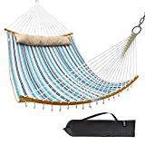 "Ohuhu Double Hammock Quilted Fabric Swing with Strong Curved-Bar Bamboo & Detachable Pillow, 55""x75"" Large Hammocks with Carrying Bag, 4.6'W x 6.2'L, Blue & White Stripe"
