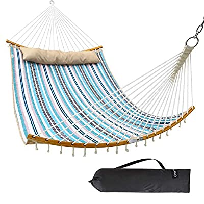 """Ohuhu Double Hammock Quilted Fabric Swing with Strong Curved-Bar Bamboo & Detachable Pillow, 55""""x75"""" Large Hammocks with Carrying Bag, 4.6'W x 6.2'L, Blue & White Stripe"""
