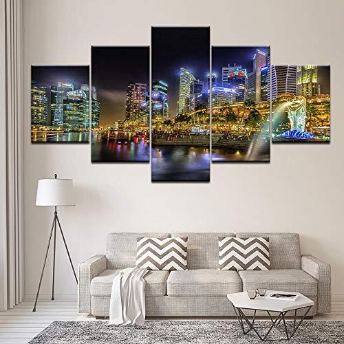 5-Brett Singapur Nachtansicht HD Wandkunst Gemälde Das bekannteste Leinwanddruck, Wohnzimmer Dekoration Gemälde mit Rahmen Vlies fünf Bilder NA
