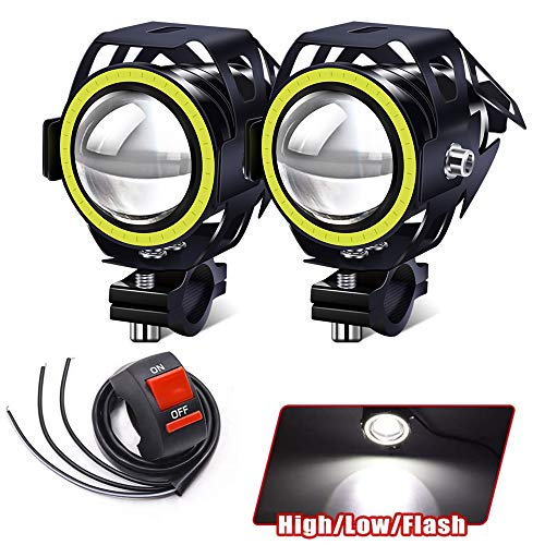 Motorcycle Lights Bulb Fog Headlights, U7 LED Driving Light Spotlight DRL Auxiliary Driving Lights White Halo Ring Hi/Low Beam Strobe With Switch