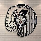 BFMBCHDJ Éléphant Noir Disque Vinyle Horloge Horloge Mur Décor Home Design À La Main Minimaliste Animaux Enfants LED Lumière