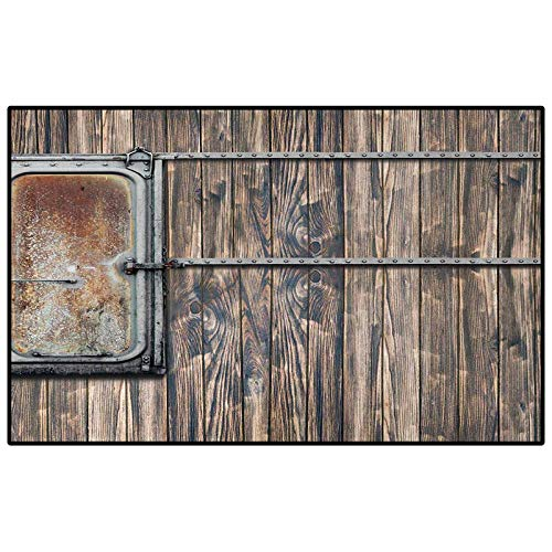 Rustic Outdoor Rugs for patios Kitchen Rugs and mats Nautical Wooden Tree Planks with Old Little Rusty Boat Marine Life Door Print for Living Room Bedroom Bathroom Kitchen Laundry Dorm Brown and Grey