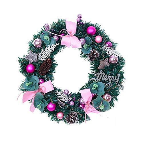 Corona navideña, corona navideña de 40 cm con piñas artificiales, bayas y flores navideñas, rosa