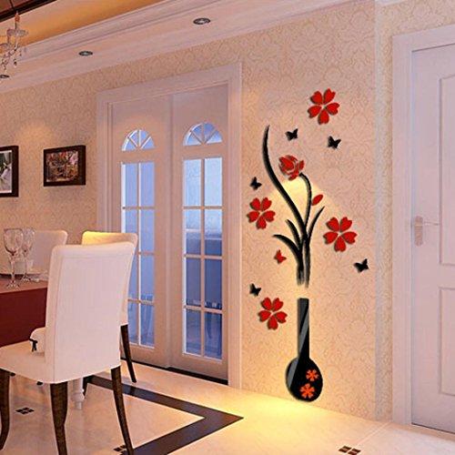 stickers muraux fleurs ,3D DIY vase fleur arbre cristal arcylic stickers muraux sticker Wall Art décoration maison stickers deco (B)