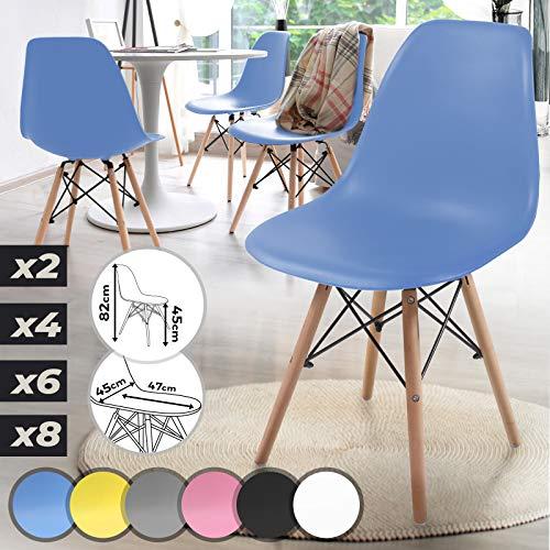 MIADOMODO Juego de 4 Sillas de Comedor - Estructura de Madera con Asiento y Respaldo Ergonómicos, Estilo Escandinavo, Color a Elegir - Muebles de Salón y Cocina de Diseño Nórdico (Azul)