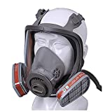 WFLJ Full Facepiece Respirator, Full Face Respirator with 2 Filtering Electrostatic Cotton and Activated Carbon Box, Effectively Blocks for Chemical Gas, Dust, Organic Vapors