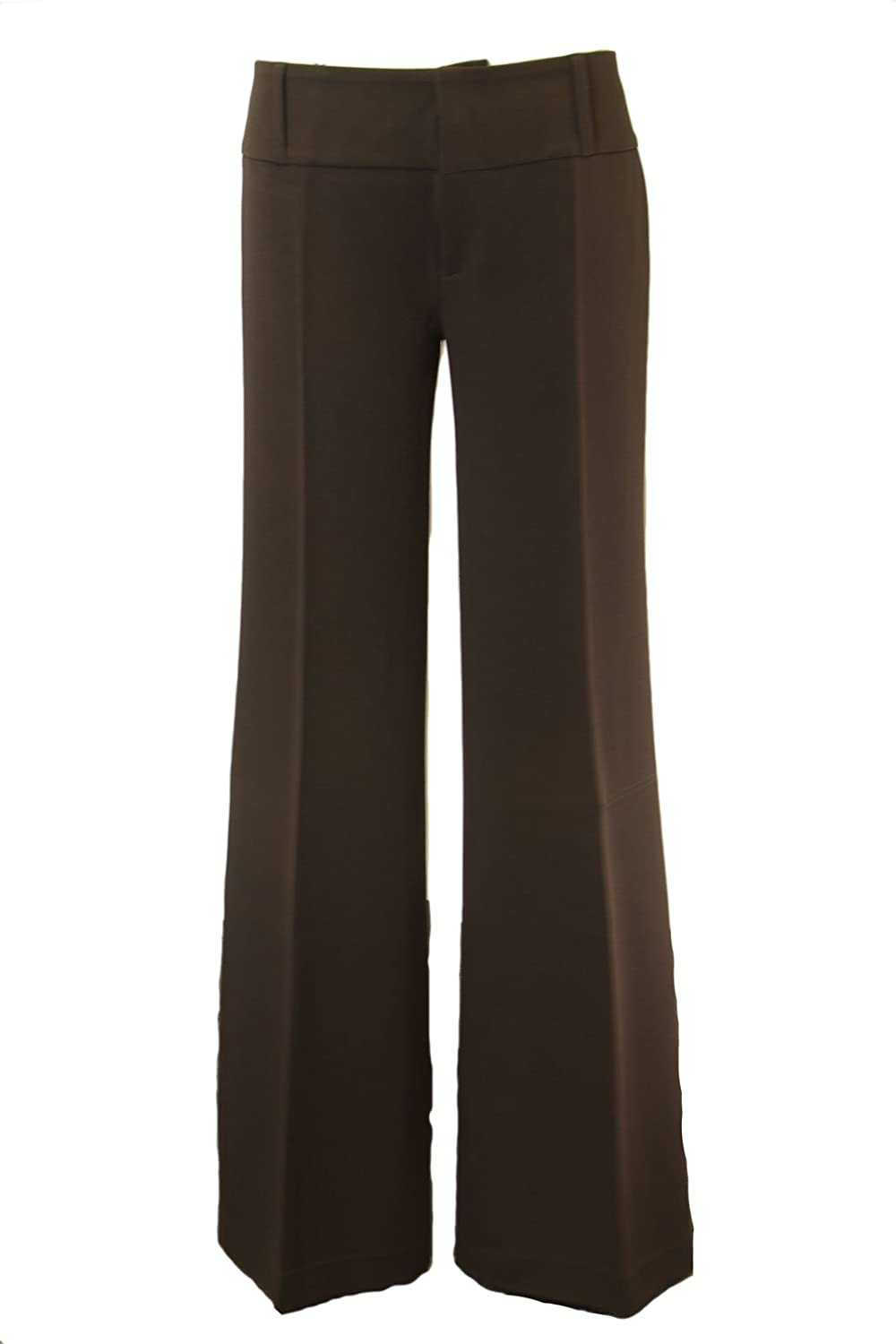 ANALILI Women's Brown Hook and Bar Slightly Flare Pants 140JP20