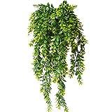 KingYH 2 Piezas 80cm Plantas Colgantes Artificiales Decoracion Hiedra Verde Plastica Falsa Follaje Vid para Decoración de Jardin en Casa Vertical Balcón Habitación Patio Colgar Cestas