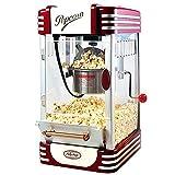 Palomitero Retro, Máquina de Palomitas Hogar Mini, Popcorn Machine Aire Caliente, con Mantener la Función Caliente Ventana Panorámica Temporizador 30 Minutos, para Bocadillo, 1.5L