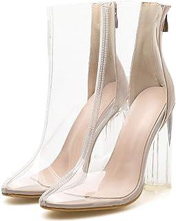 Claro para Mujer Vestido De Botas, Botines del Dedo del Pie Transparente Punto Tacones Gruesos Bloque del Tobillo De La Bo...