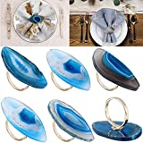 Mornajina Natural Agate Napkin Rings Set of 6 Gold Napkin Ring Holders for Christmas Thanksgiving Parties, Wedding Adornment, Dinner Table Decoration (Blue)