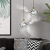 N\C Candelabro LED, Moderno, Minimalista, Estilo escandinavo, candelabro de Cristal, Creativo, Restaurante, Bar, Mesa, mesita de Noche, lámpara (20 * 20 CM)