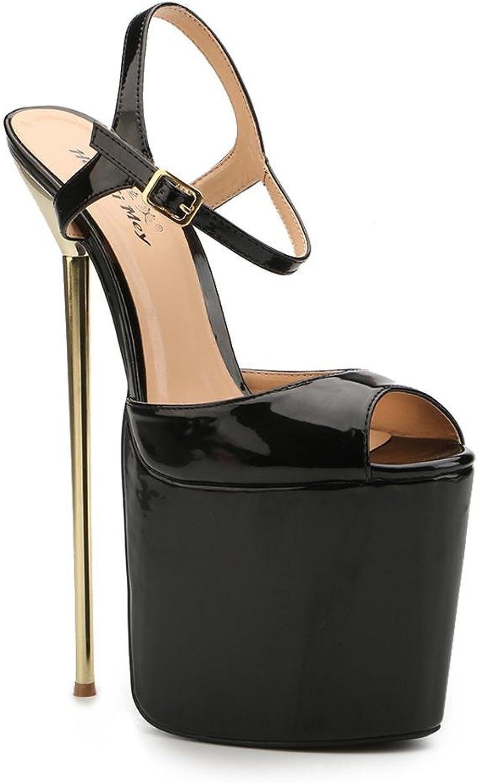 L@YC Damen Heels Sommer Herbst Sandalen Leder Leder Hochzeit Party  Abend Kleid Die Bühne Laufsteg Zeigt Schwarz  Qualität zuerst Verbraucher zuerst