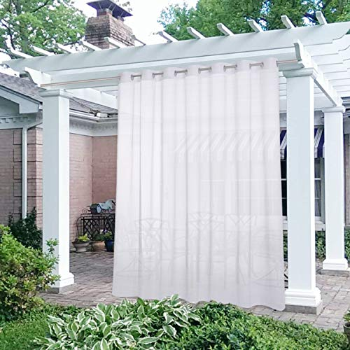 NICETOWN Waterproof Outdoor Sheer Curtain Panel Extra Wide and Long W100 x L108, Voile Soft Sheer Public Divider with Stainless Silver Grommet for Patio/Porch, 1 Panel with Rope Tieback, White
