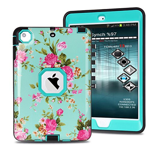 MAKEIT CASE iPad Mini Case, iPad Mini 2 3 Case, 3in 1 Heavy Duty Protection Combo Hybrid Impact Silicone Hard Case Cover for ipad Mini 1/ 2/ 3 (IMD-Flower Green)