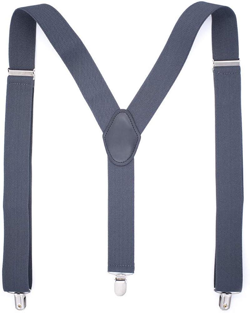 Booluee Mens Suspenders Adjustable Elastic Y Back Style Suspenders with Strong Metal Clips