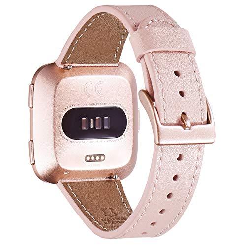WFEAGL für Fitbit Versa Armband,Lederband Ersatzband mit Edelstahl-Verschluss kompatibel für Fitbit Versa/Versa 2 /Versa Lite/Versa SE Fitness Smart Watch(Rosa+Roségold Schnalle)