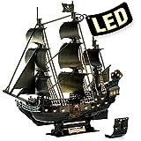 CubicFun Puzzle 3D LED Venganza de la Reina Ana Maquetas para Construir Adultos, Grande Maquetas de Barcos Pirata con Detalles Interiores, Recuerdo Regalo para Niños y Adultos, 293 Piezas