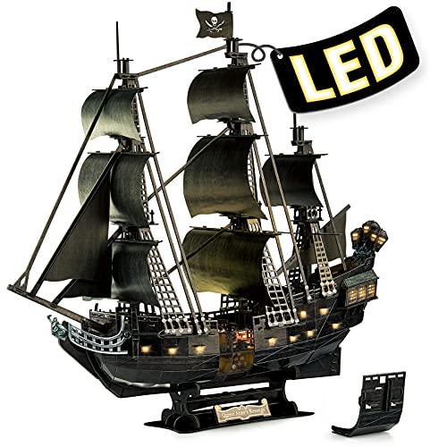 CubicFun 3D Puzzle LED Queen Anne's Revenge Großes Modellschiff, Geburtstagsgeschenk für Erwachsene, 293 Stück (2021 aktualisierte Version)