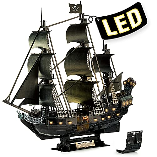 3D Puzzle for Adults Moveable LED Pirate Ship Halloween Decorations with Detailed Interior, Large Queen Anne's Revenge Sailboat Desk Puzzles, Difficult 3D Puzzles with Lights Gifts for Men Women