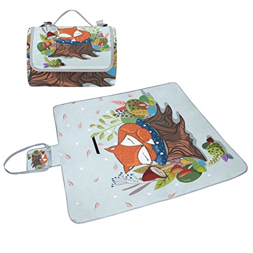 coosun Schlafsack Little Fox Picknick Decke Tote Handlich Matte Mehltau resistent und wasserfest Camping Matte für Picknicks, Strände, Wandern, Reisen, Rving und Ausflüge