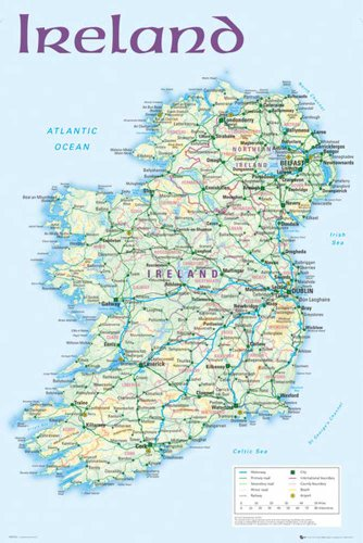 Ireland - Map 2012 Landkarten Irland Dublin Städte, Maxi-Poster, Druck, Poster - Grösse 61x91,5 cm + 1 Ü-Poster der Grösse 61x91,5cm