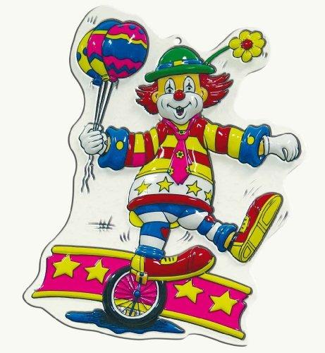 Unbekannt PARTY DISCOUNT ® Wand-Deko Clown mit Einrad, Höhe ca. 40 cm