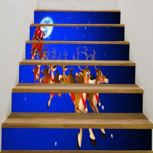 WZhen Starry Moon Night Christmas Sleigh Pattern Stair Stickers - Blue And Red 6Pcs:39 * 7 Inch(No Frame)