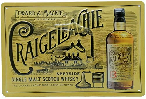 CRAIGELLACHIE Single Malt Scotch Whisky - Retro Blechschild 30 x 20 cm, hochwertig geprägt - Barschild, Wandschild, Türschild, Dekoration