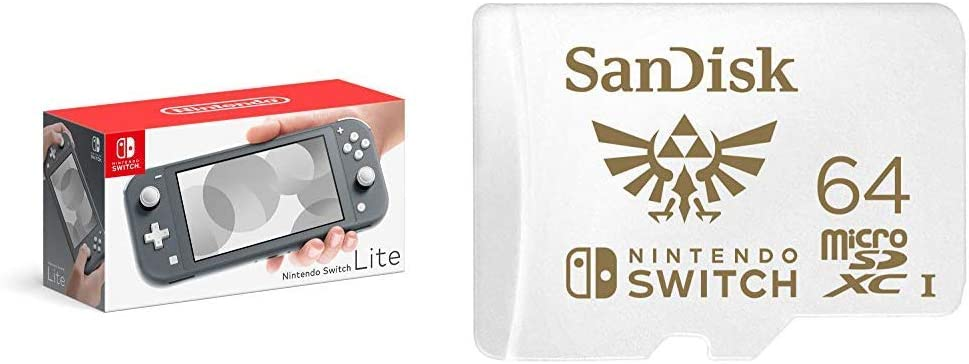 Weekly update Nintendo Switch Lite safety - Gray with SanDisk 64GB Ca MicroSDXC UHS-I