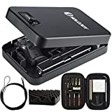 HOLOJOY Pistol Safe,Handgun Lock Box,Lockbox for Guns and Valuables,Portable Security Case Travel Gun Safe for Cars,Home (Dial Lock XL with Cleaning Kit),11.42' x 7.48 'x 2.56'
