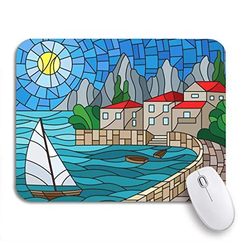 Gaming mouse pad das in buntglas gemalte segelboot von bay city rutschfeste gummiunterlage mousepad für notebooks computer mausmatten