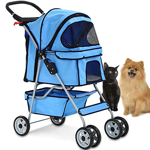4 Wheels Pet Stroller Cat Dog Cage Stroller Travel Folding Carrier with Cup Holders and Removable...