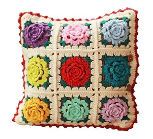 Hecho a Mano sofá Coche cojín Regalo de inauguración de la casa Mano Crochet Flor Retro estéreo Flor Retro Borde Rojo Almohada - 30X30 CM
