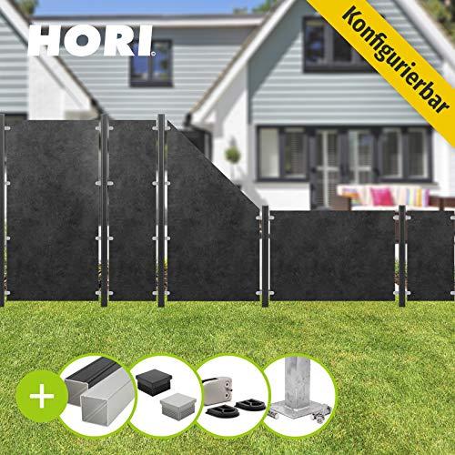 HORI® HPL Garten-Zaun granit-anthrazit I Sichtschutzzaun Komplettset I 1x Standard + 1x Pfosten I zum Einbetonieren I Pfosten: schwarz
