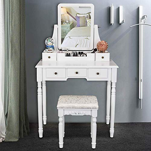 Bonnlo Make up Tables with Stools Teen Vanity Set with Mirror and Stool Small Space Vanity with Drawers and Makeup Organizer