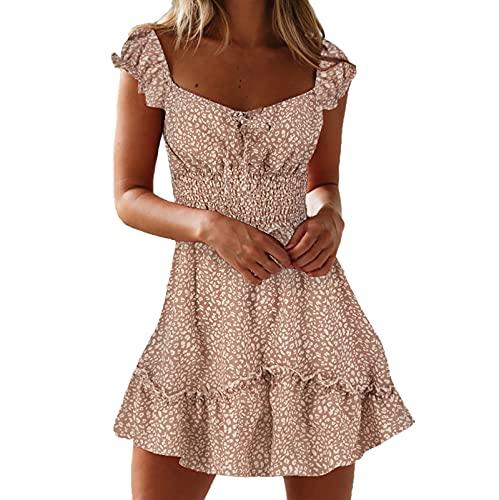 Summer Women Lace Dress Square Collar Vintage Floral Print Summer Elastic Waist Puff Short Sleeve Beach Mini Dress Pink