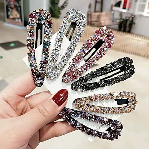 AB Kristall Haarspangen Fashion Große Haarspangen Hochzeit Dekorative Bling Tschechische Diamant Haarnadeln Handarbeit Strass Snap Clips Haarschmuck für Frauen Mädchen (6 Farben/6 Stück)