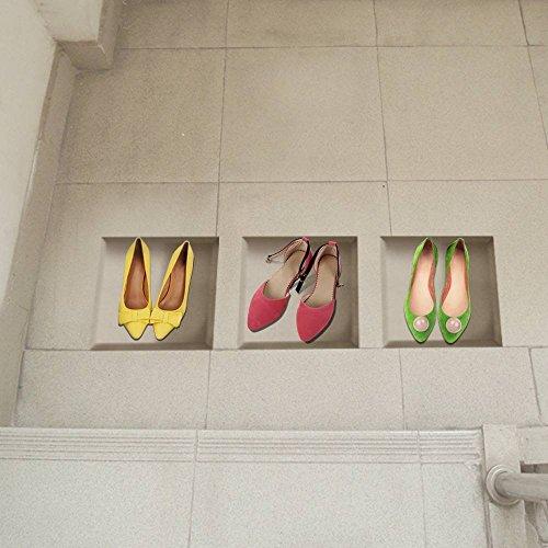 PhilMat Chaussures Fille 3D Sol décalcomanies circonscription de Treillis pag Amovible Art Mural Grille Stickers décoration Cadeau