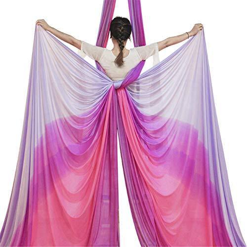 XIONGGG Hamaca aérea de yoga, equipo de sedas aéreas de color degradado mixto, seda aérea incluye mosquetón cadena de margaritas