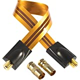 Poppstar 28cm SAT Fensterdurchführung (0,2 mm Fensterdurchführung SAT Kabel sehr flach), 2X F-Stecker (1x auf Antennenstecker, 1x auf Antennenbuchse), orange
